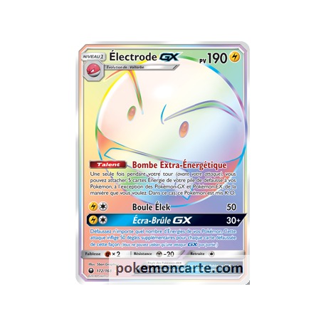 Electrode GX pv190 172/168 Full Art Arc En Ciel - Carte pokémon Secrete SL07